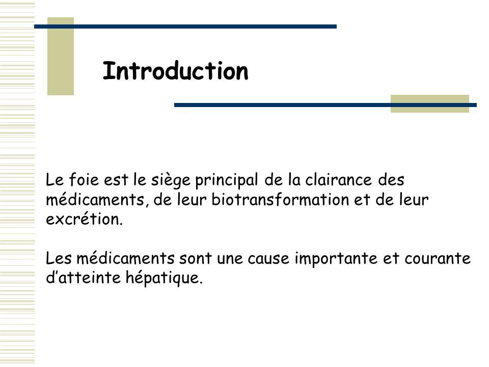 Introduction Le foie est le siège principal de la clairance des médicaments, de leur biotransformation et de leur excrétion. Les médicaments sont une