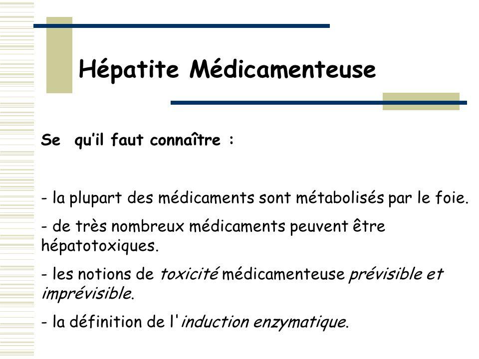 Se quil faut connaître : - la plupart des médicaments sont métabolisés par le foie. - de très nombreux médicaments peuvent être hépatotoxiques. - les