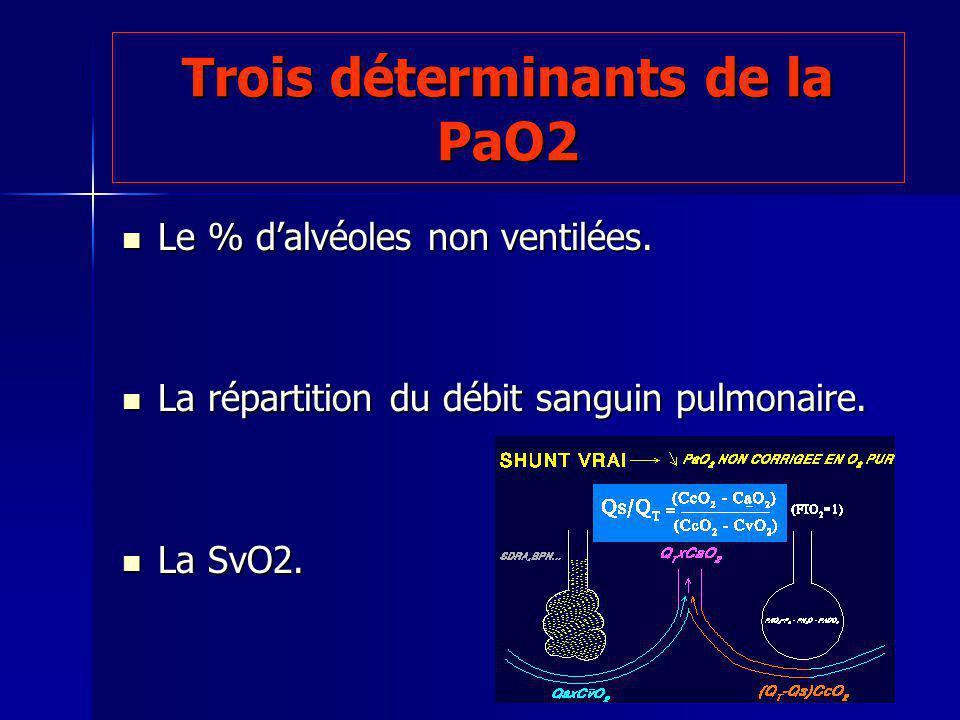 Trois déterminants de la PaO2 Le % dalvéoles non ventilées. Le % dalvéoles non ventilées. La répartition du débit sanguin pulmonaire. La répartition d