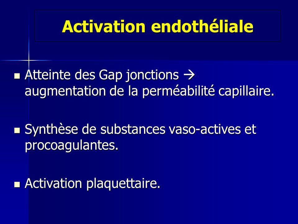 Activation endothéliale Atteinte des Gap jonctions augmentation de la perméabilité capillaire.