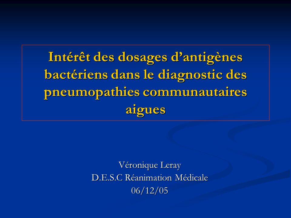 Intérêt des dosages dantigènes bactériens dans le diagnostic des pneumopathies communautaires aigues Véronique Leray D.E.S.C Réanimation Médicale 06/1