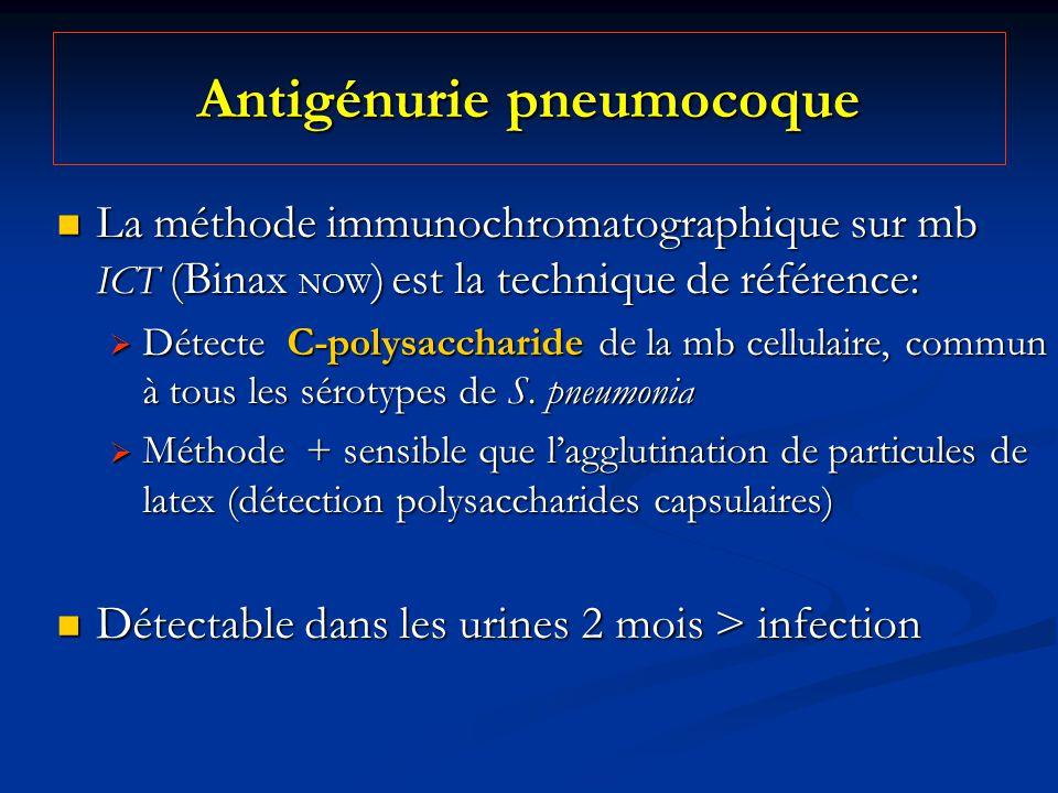 Antigénurie pneumocoque La méthode immunochromatographique sur mb ICT (Binax NOW ) est la technique de référence: La méthode immunochromatographique s
