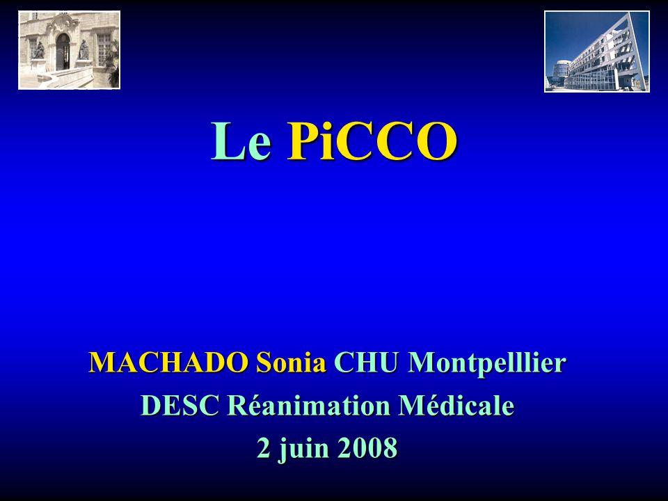 Le PiCCO MACHADO Sonia CHU Montpelllier DESC Réanimation Médicale 2 juin 2008