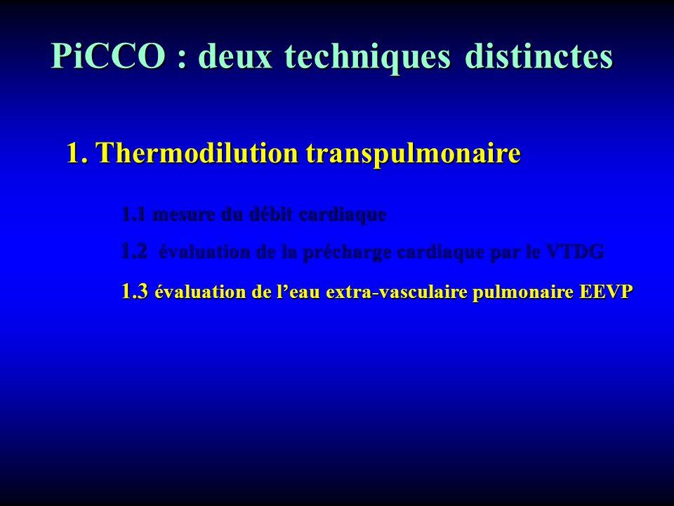 PiCCO : deux techniques distinctes 1. Thermodilution transpulmonaire 1.1 mesure du débit cardiaque 1.2 évaluation de la précharge cardiaque par le VTD