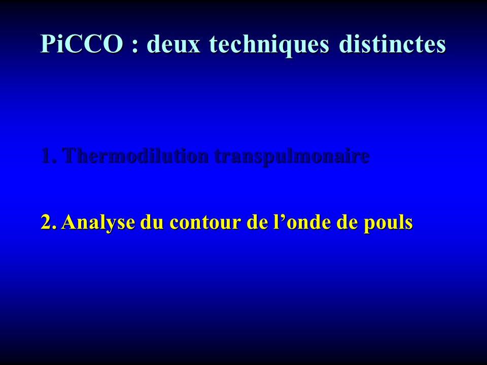 2. Analyse du contour de londe de pouls PiCCO : deux techniques distinctes PiCCO : deux techniques distinctes 1. Thermodilution transpulmonaire