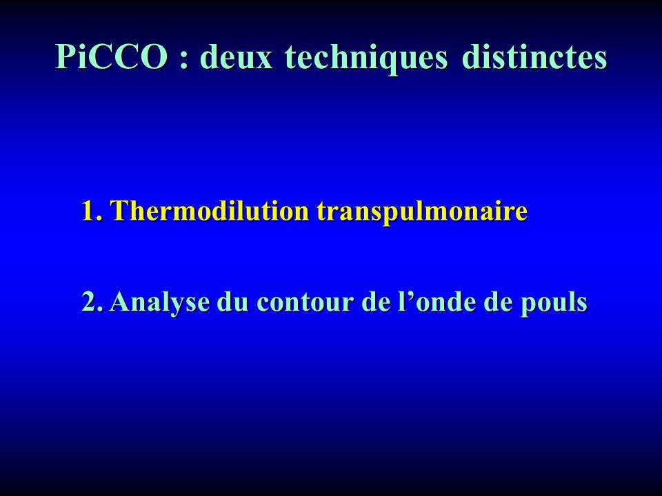 PiCCO : deux techniques distinctes 2. Analyse du contour de londe de pouls 1. Thermodilution transpulmonaire