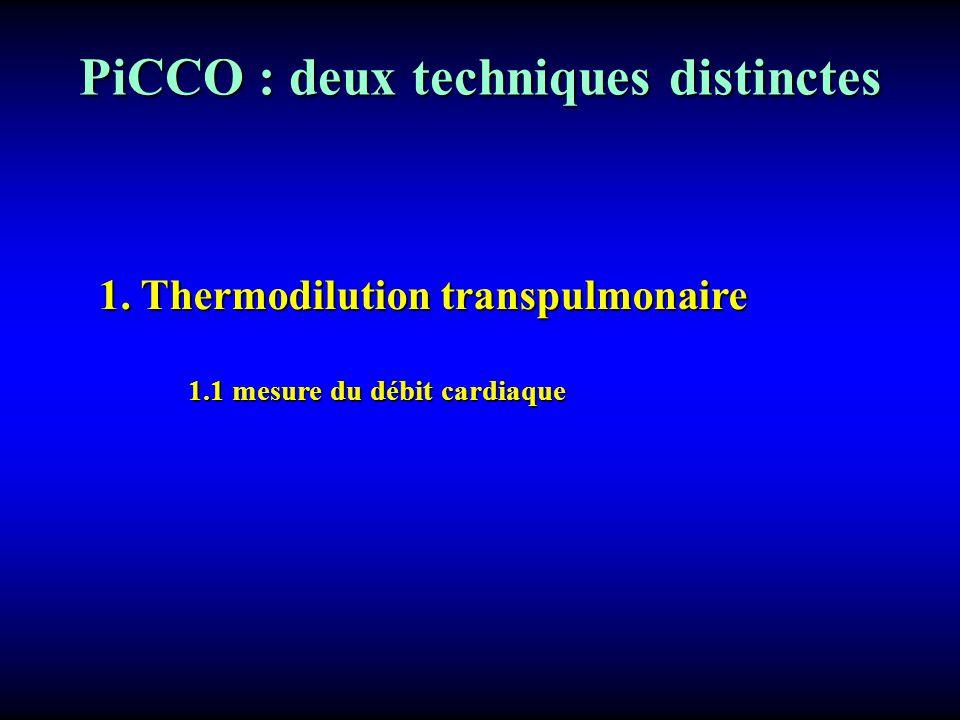 PiCCO : deux techniques distinctes 1. Thermodilution transpulmonaire 1.1 mesure du débit cardiaque