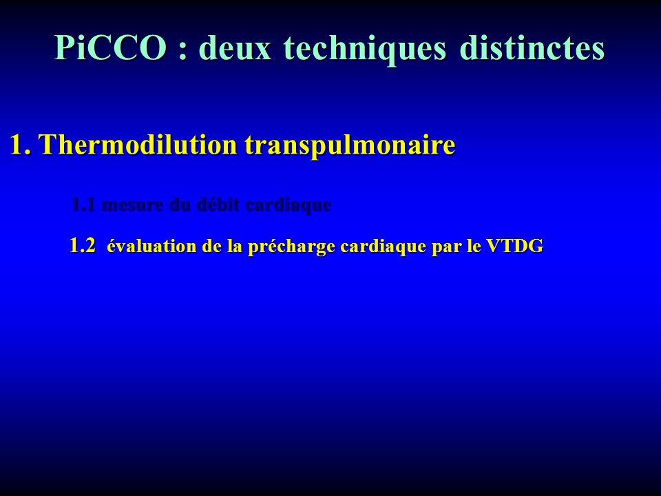 PiCCO : deux techniques distinctes PiCCO : deux techniques distinctes 1. Thermodilution transpulmonaire 1.1 mesure du débit cardiaque 1.2 évaluation d