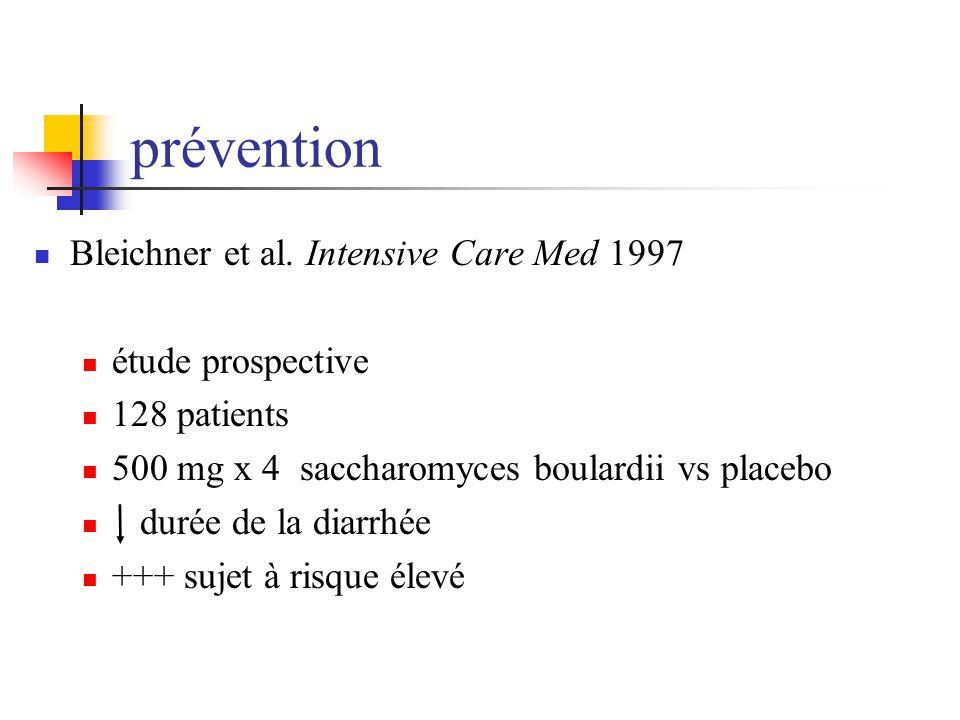 prévention Bleichner et al. Intensive Care Med 1997 étude prospective 128 patients 500 mg x 4 saccharomyces boulardii vs placebo durée de la diarrhée