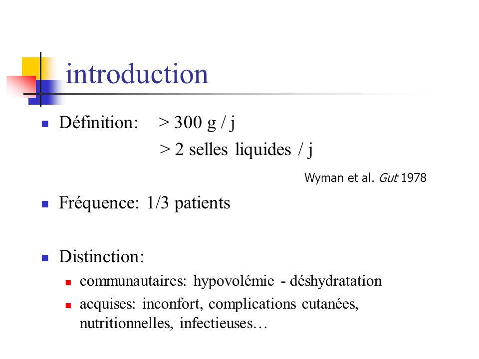 introduction Définition: > 300 g / j > 2 selles liquides / j Fréquence: 1/3 patients Distinction: communautaires: hypovolémie - déshydratation acquise