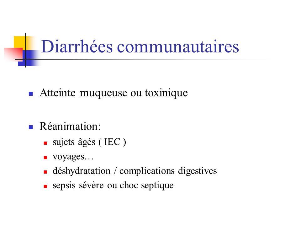 Diarrhées communautaires Atteinte muqueuse ou toxinique Réanimation: sujets âgés ( IEC ) voyages… déshydratation / complications digestives sepsis sév