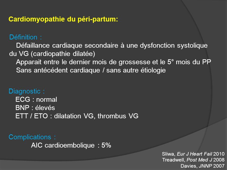 Cardiomyopathie du péri-partum: Définition : Défaillance cardiaque secondaire à une dysfonction systolique du VG (cardiopathie dilatée) Apparait entre