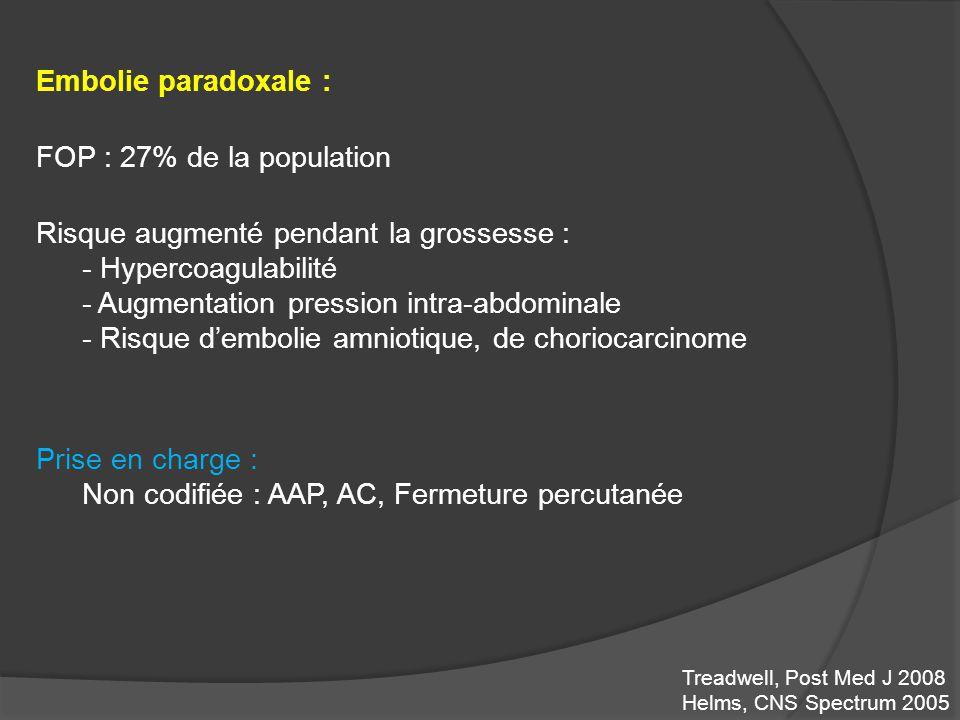 Embolie paradoxale : FOP : 27% de la population Risque augmenté pendant la grossesse : - Hypercoagulabilité - Augmentation pression intra-abdominale -
