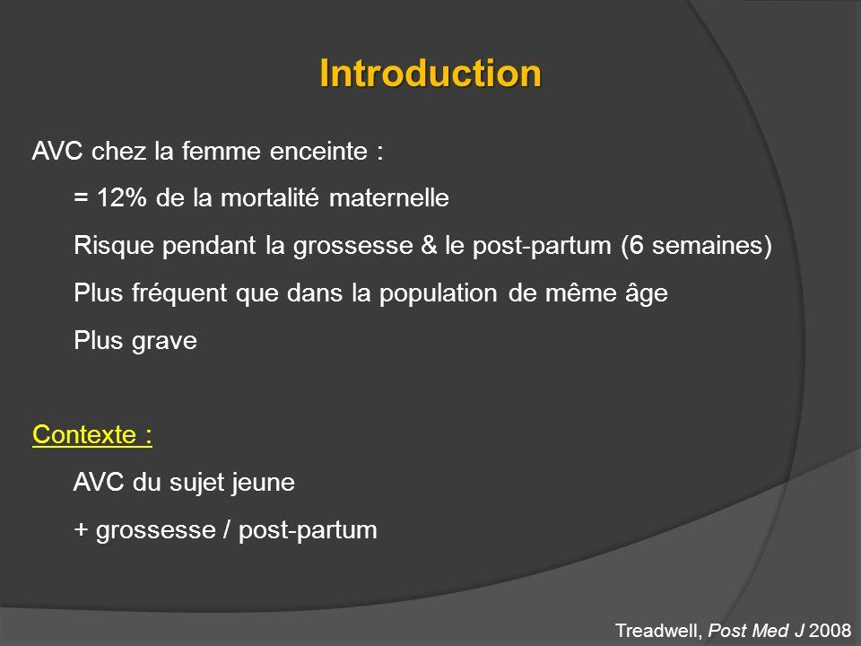 Introduction AVC chez la femme enceinte : = 12% de la mortalité maternelle Risque pendant la grossesse & le post-partum (6 semaines) Plus fréquent que