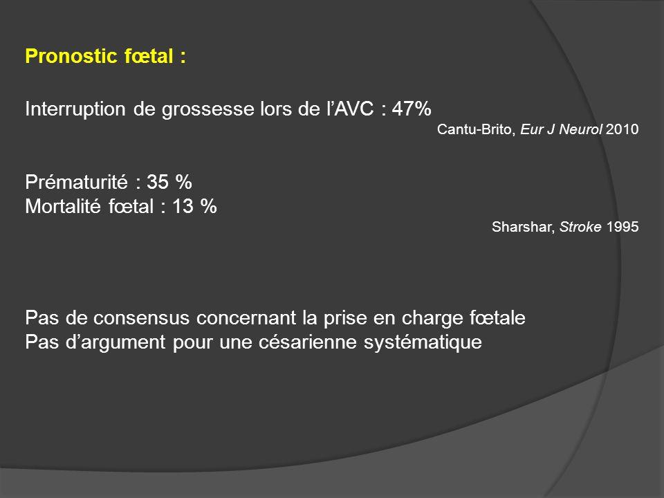 Pronostic fœtal : Interruption de grossesse lors de lAVC : 47% Cantu-Brito, Eur J Neurol 2010 Prématurité : 35 % Mortalité fœtal : 13 % Sharshar, Stro