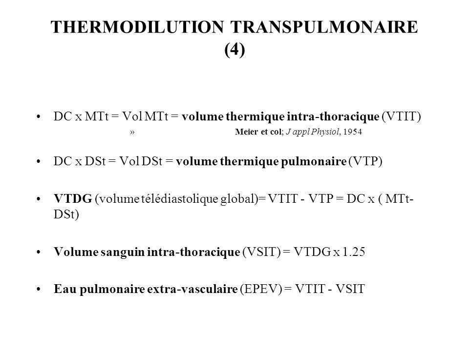 THERMODILUTION TRANSPULMONAIRE (4) DC X MTt = Vol MTt = volume thermique intra-thoracique (VTIT) » Meier et col; J appl Physiol, 1954 DC X DSt = Vol D