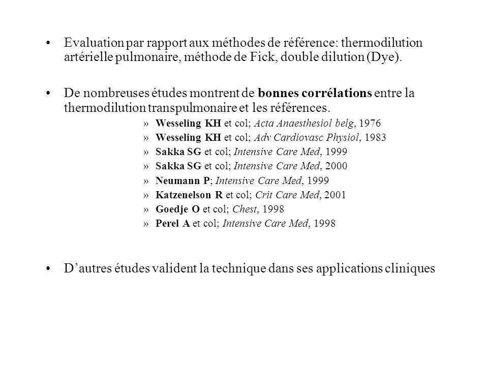 Evaluation par rapport aux méthodes de référence: thermodilution artérielle pulmonaire, méthode de Fick, double dilution (Dye). De nombreuses études m