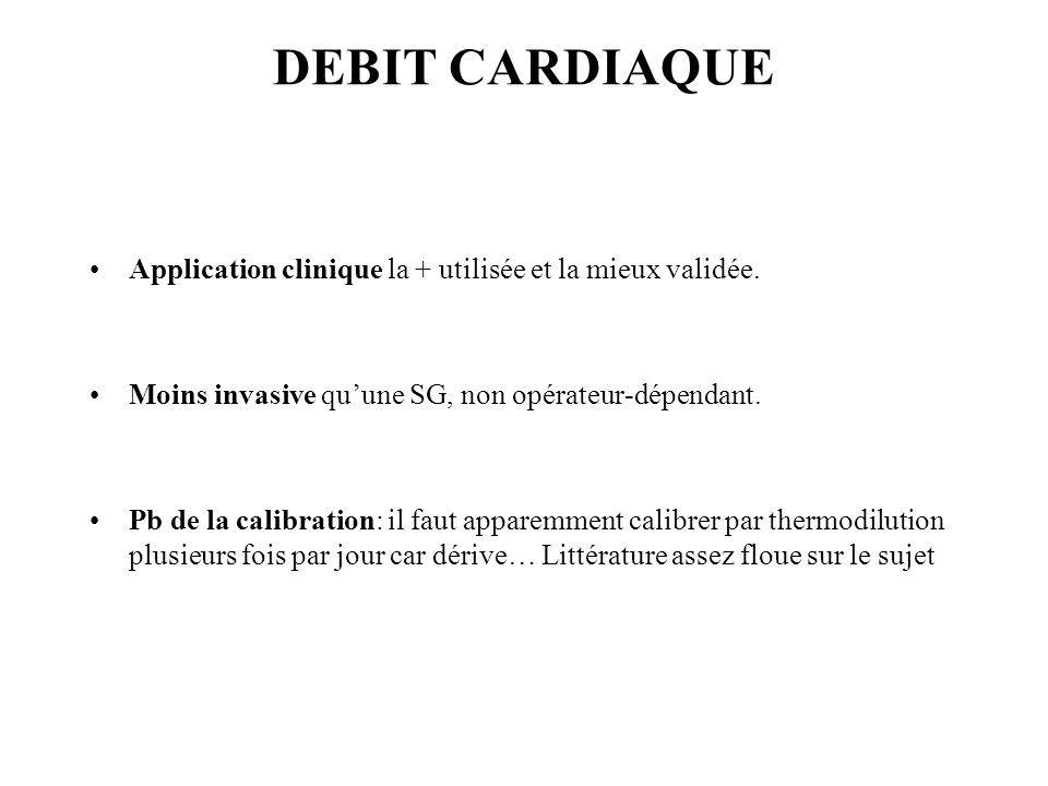 DEBIT CARDIAQUE Application clinique la + utilisée et la mieux validée. Moins invasive quune SG, non opérateur-dépendant. Pb de la calibration: il fau