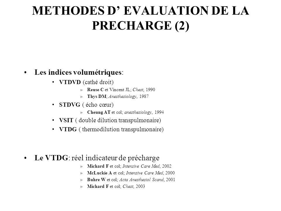 METHODES D EVALUATION DE LA PRECHARGE (2) Les indices volumétriques: VTDVD (cathé droit) »Reuse C et Vincent JL; Chest, 1990 »Thys DM; Anesthesiology, 1987 STDVG ( écho cœur) »Cheung AT et col; anesthesiology, 1994 VSIT ( double dilution transpulmonaire) VTDG ( thermodilution transpulmonaire) Le VTDG: réel indicateur de précharge »Michard F et col; Intensive Care Med, 2002 »McLuckie A et col; Intensive Care Med, 2000 »Buhre W et col; Acta Anesthesiol Scand, 2001 »Michard F et col; Chest, 2003