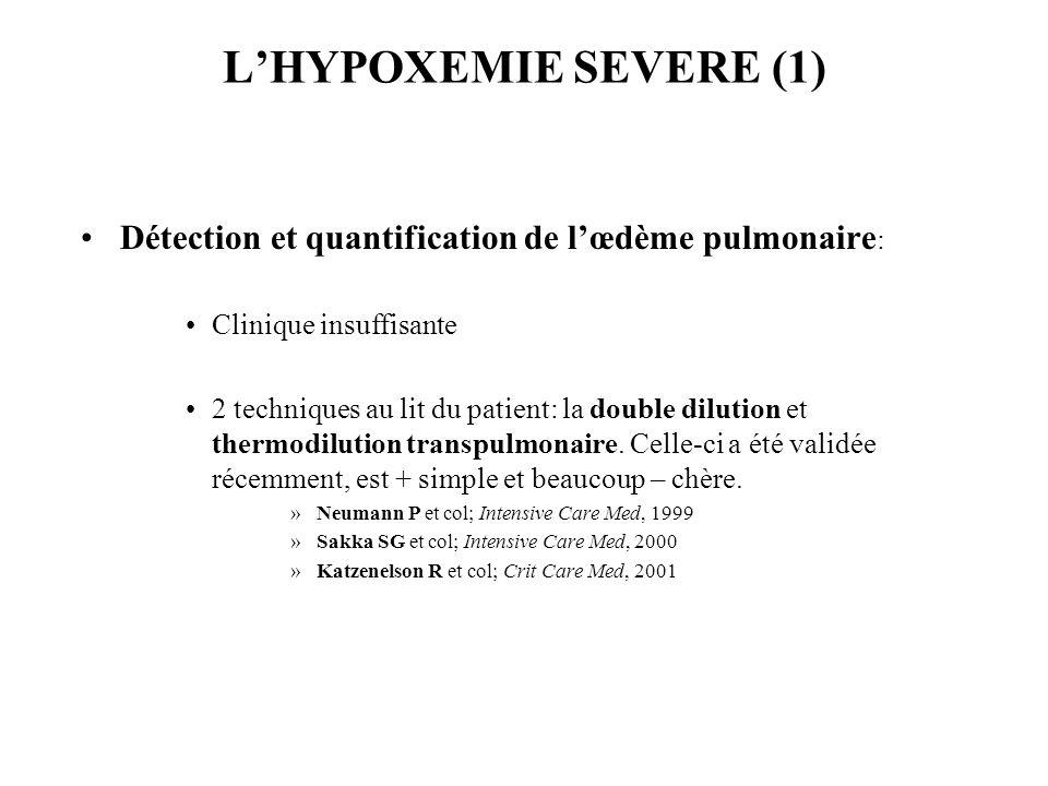LHYPOXEMIE SEVERE (1) Détection et quantification de lœdème pulmonaire : Clinique insuffisante 2 techniques au lit du patient: la double dilution et thermodilution transpulmonaire.