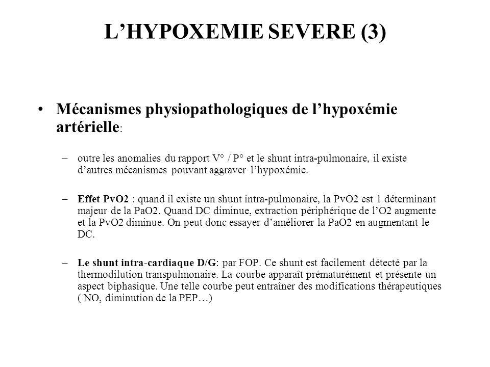 LHYPOXEMIE SEVERE (3) Mécanismes physiopathologiques de lhypoxémie artérielle : –outre les anomalies du rapport V° / P° et le shunt intra-pulmonaire, il existe dautres mécanismes pouvant aggraver lhypoxémie.