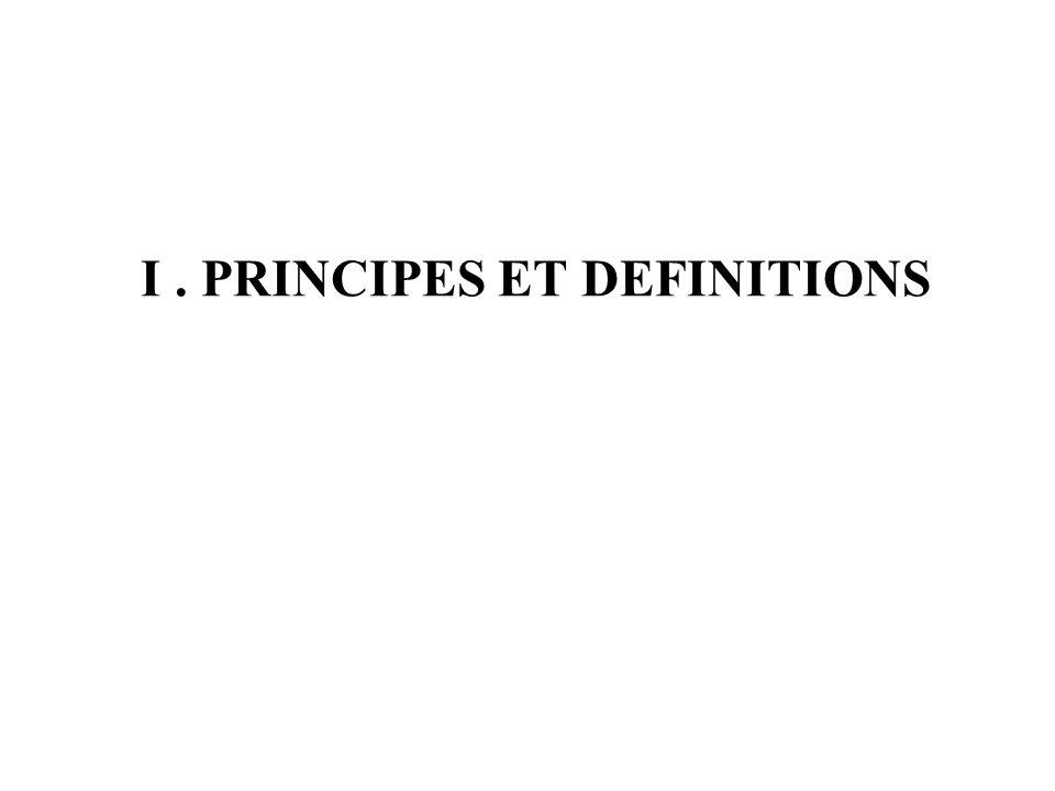 I. PRINCIPES ET DEFINITIONS