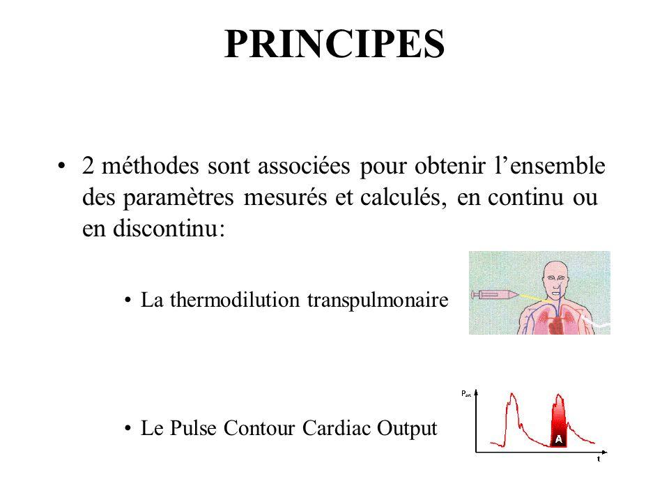 PRINCIPES 2 méthodes sont associées pour obtenir lensemble des paramètres mesurés et calculés, en continu ou en discontinu: La thermodilution transpulmonaire Le Pulse Contour Cardiac Output