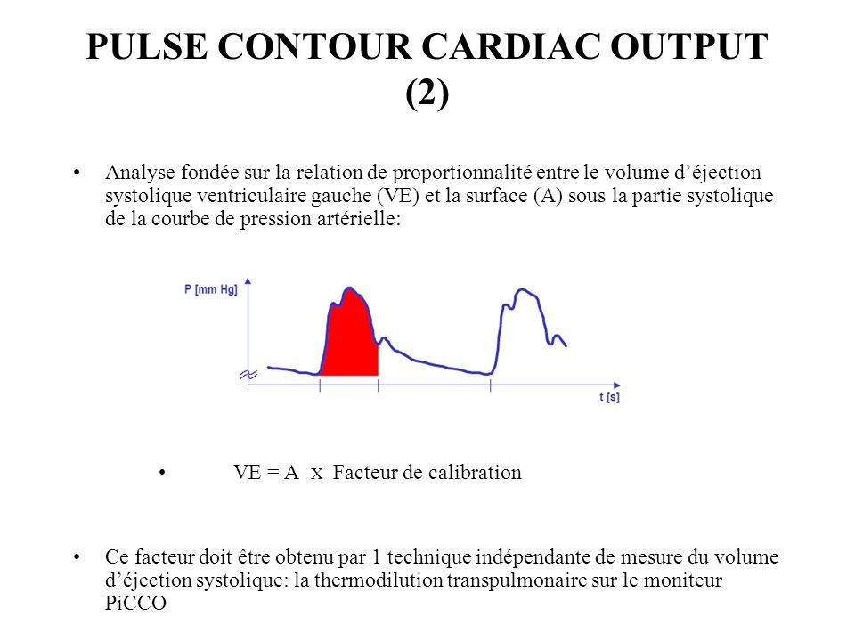 PULSE CONTOUR CARDIAC OUTPUT (3) Paramètres obtenus en continu: –Paramètres mesurés: Température sanguine Fréquence cardiaque Pression artérielle (par intégration de laire sous la courbe) Contour de limpulsion Aire sous la courbe –Paramètres calculés: Débit cardiaque (DC) par analyse du contour Volume déjection systolique du VG (VE) Variation du VE (VVE) en % Résistances vasculaires systémiques (RVS)