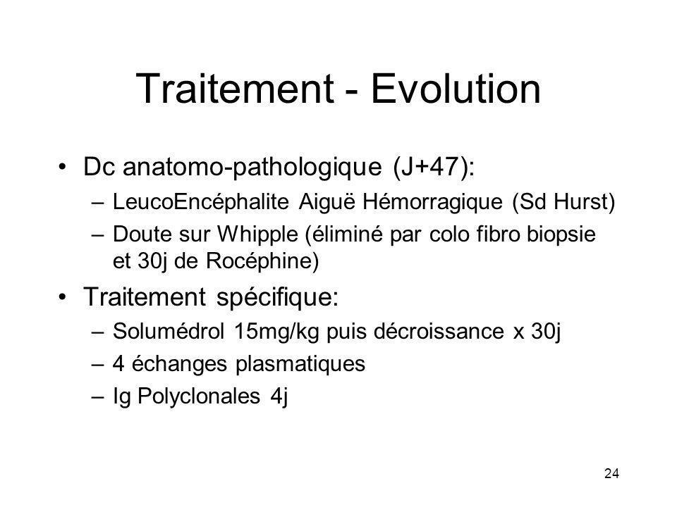 24 Traitement - Evolution Dc anatomo-pathologique (J+47): –LeucoEncéphalite Aiguë Hémorragique (Sd Hurst) –Doute sur Whipple (éliminé par colo fibro b