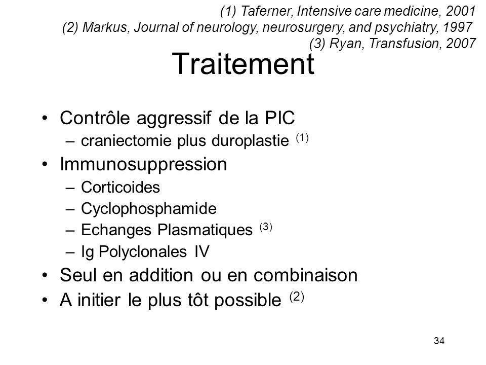 34 Traitement Contrôle aggressif de la PIC –craniectomie plus duroplastie (1) Immunosuppression –Corticoides –Cyclophosphamide –Echanges Plasmatiques