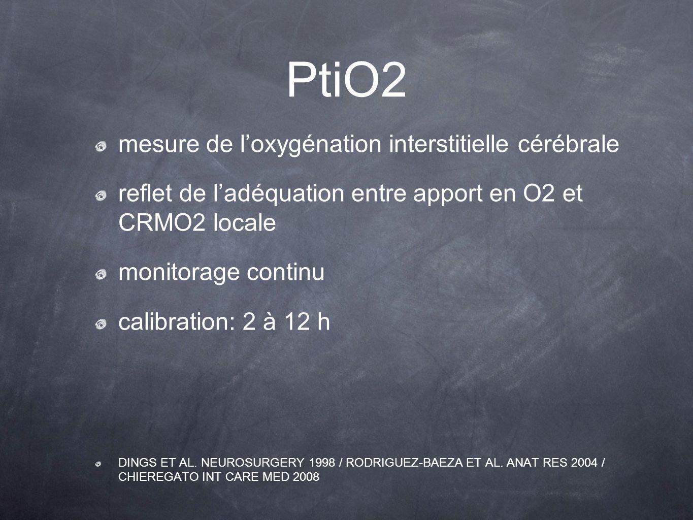 mesure de loxygénation interstitielle cérébrale reflet de ladéquation entre apport en O2 et CRMO2 locale monitorage continu calibration: 2 à 12 h DING
