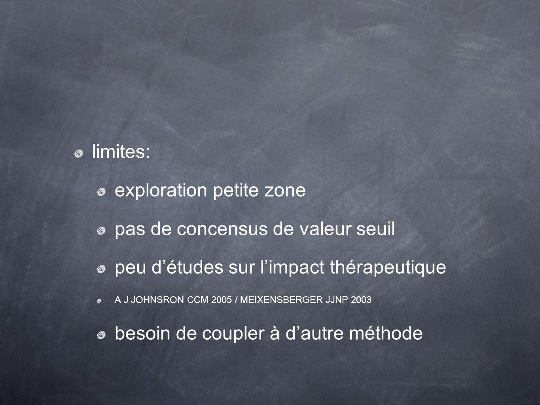 limites: exploration petite zone pas de concensus de valeur seuil peu détudes sur limpact thérapeutique A J JOHNSRON CCM 2005 / MEIXENSBERGER JJNP 200