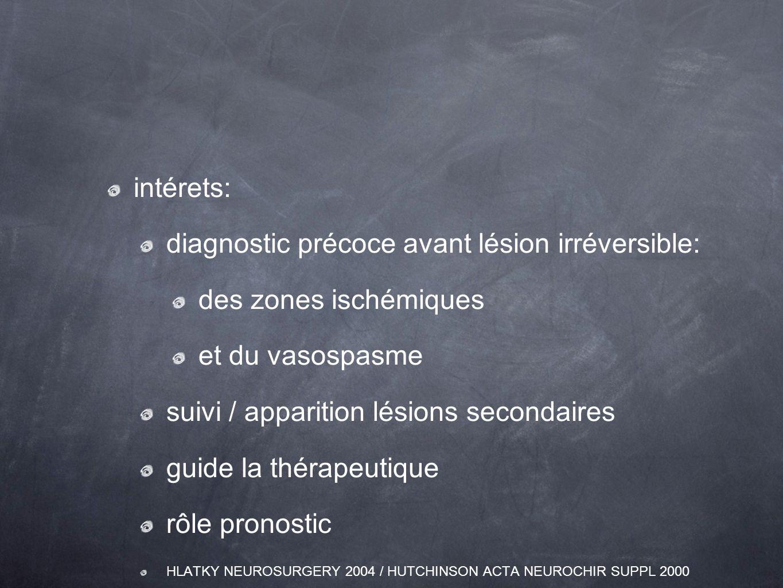 intérets: diagnostic précoce avant lésion irréversible: des zones ischémiques et du vasospasme suivi / apparition lésions secondaires guide la thérape