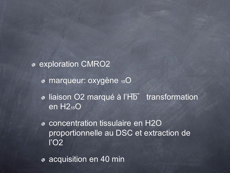 exploration CMRO2 marqueur: oxygène 15 O liaison O2 marqué à lHb transformation en H2 15 O concentration tissulaire en H2O proportionnelle au DSC et e