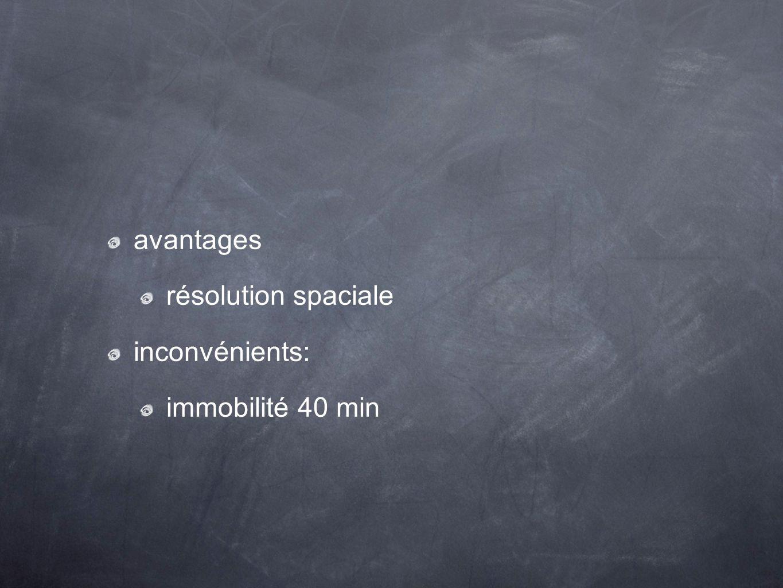 avantages résolution spaciale inconvénients: immobilité 40 min