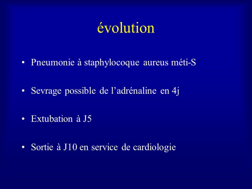 évolution Pneumonie à staphylocoque aureus méti-S Sevrage possible de ladrénaline en 4j Extubation à J5 Sortie à J10 en service de cardiologie