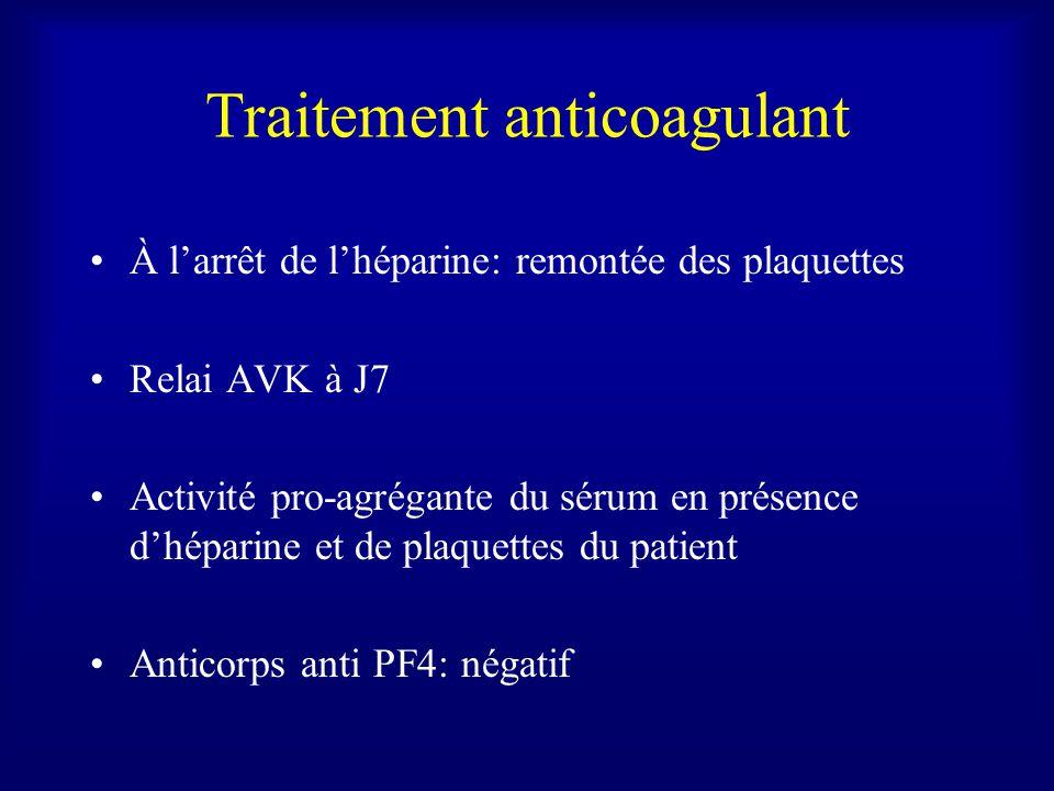 Traitement anticoagulant À larrêt de lhéparine: remontée des plaquettes Relai AVK à J7 Activité pro-agrégante du sérum en présence dhéparine et de plaquettes du patient Anticorps anti PF4: négatif