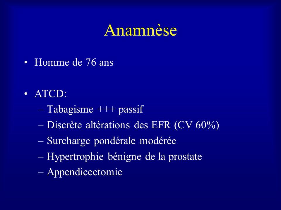 Anamnèse Homme de 76 ans ATCD: –Tabagisme +++ passif –Discrète altérations des EFR (CV 60%) –Surcharge pondérale modérée –Hypertrophie bénigne de la prostate –Appendicectomie
