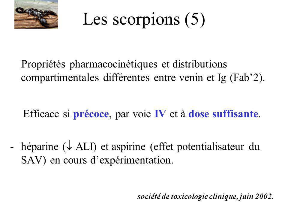 Les scorpions (5) Propriétés pharmacocinétiques et distributions compartimentales différentes entre venin et Ig (Fab2). Efficace si précoce, par voie