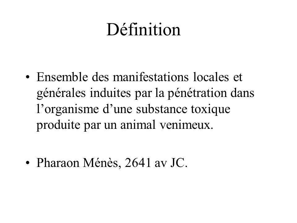 Définition Ensemble des manifestations locales et générales induites par la pénétration dans lorganisme dune substance toxique produite par un animal