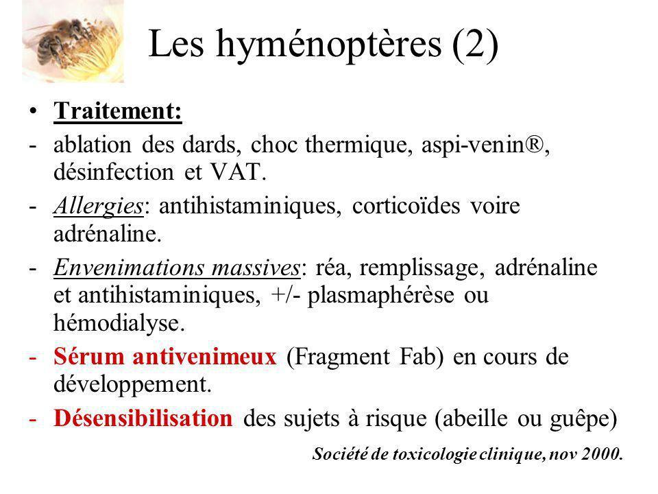 Les hyménoptères (2) Traitement: -ablation des dards, choc thermique, aspi-venin®, désinfection et VAT. -Allergies: antihistaminiques, corticoïdes voi