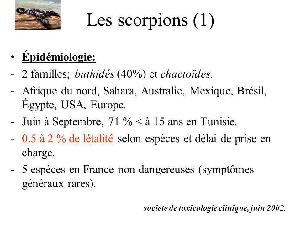 Les scorpions (2) Les venins: -4 familles de neurotoxines agissant sur les canaux ioniques (Na, K, Ca et Cl).
