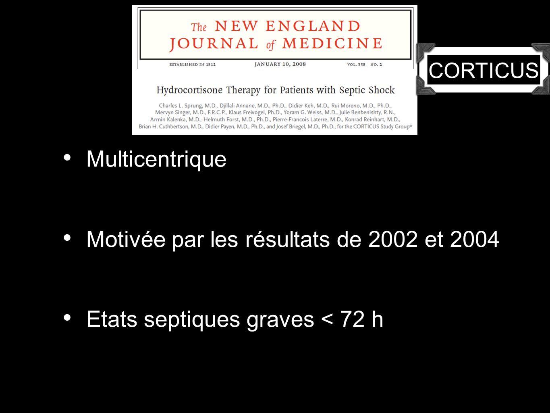 Multicentrique Motivée par les résultats de 2002 et 2004 Etats septiques graves < 72 h CORTICUS