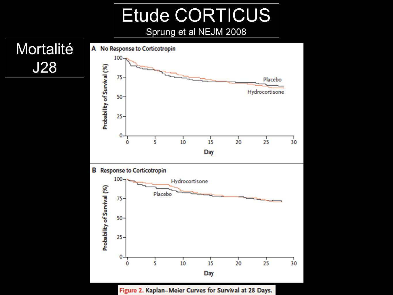 Etude CORTICUS Sprung et al NEJM 2008 Mortalité J28