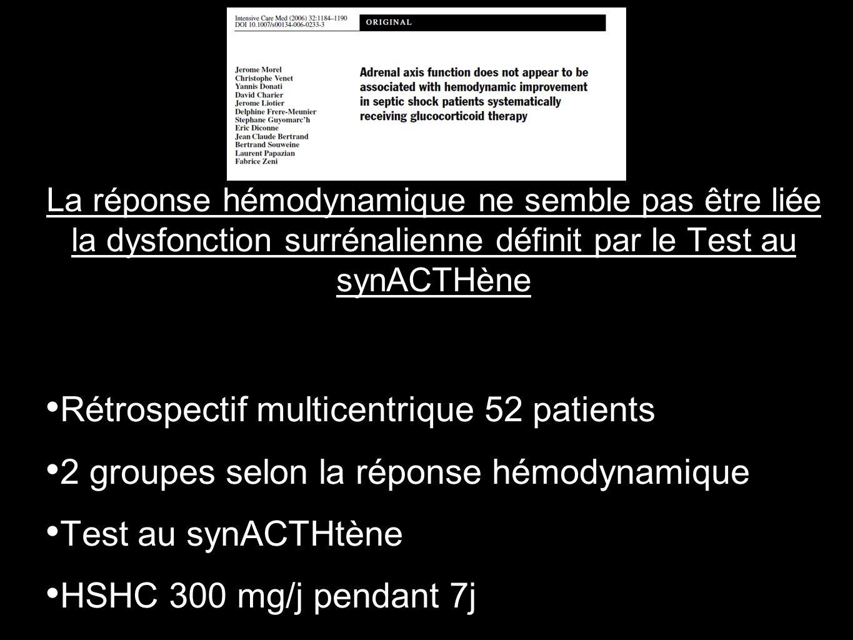 La réponse hémodynamique ne semble pas être liée la dysfonction surrénalienne définit par le Test au synACTHène Rétrospectif multicentrique 52 patient