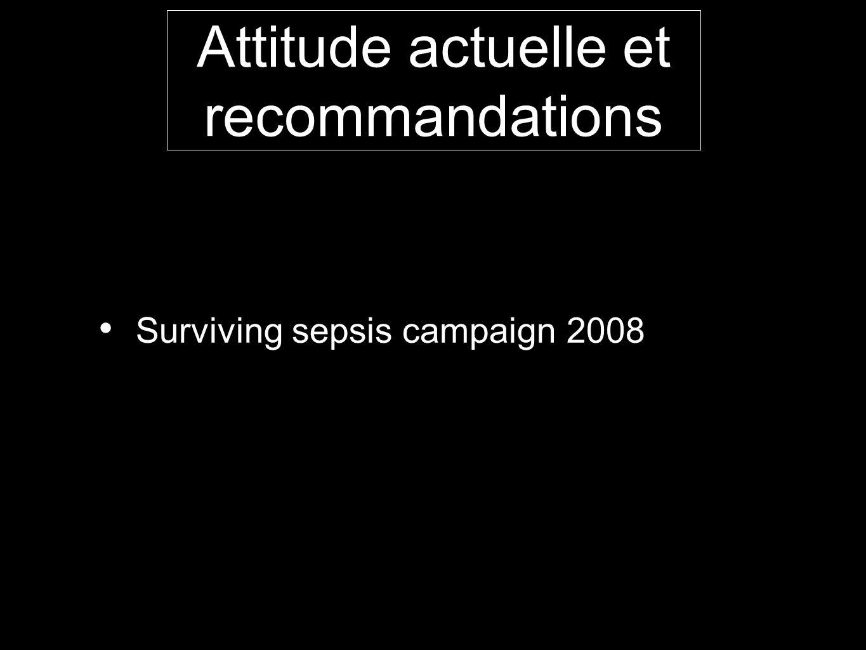 Attitude actuelle et recommandations Surviving sepsis campaign 2008