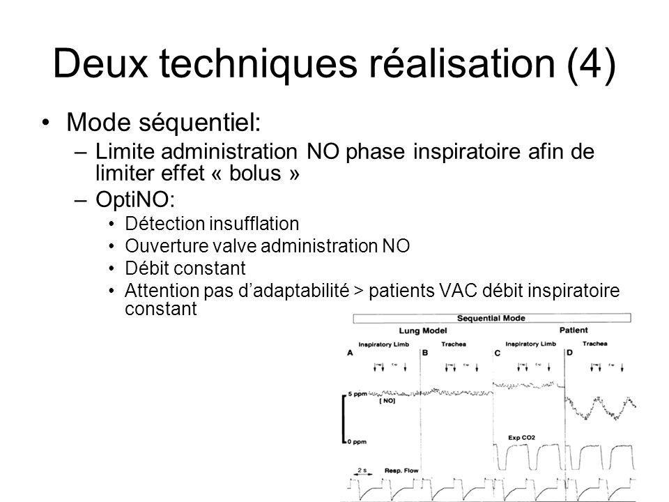 12 Deux techniques réalisation (4) Mode séquentiel: –Limite administration NO phase inspiratoire afin de limiter effet « bolus » –OptiNO: Détection in