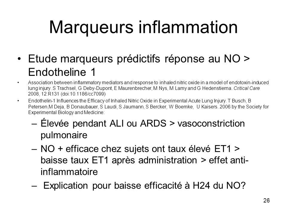 26 Marqueurs inflammation Etude marqueurs prédictifs réponse au NO > Endotheline 1 Association between inflammatory mediators and response to inhaled