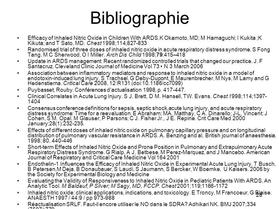 28 Bibliographie Efficacy of Inhaled Nitric Oxide in Children With ARDS.K Okamoto, MD; M Hamaguchi; I Kukita ;K Kikuta; and T Sato, MD. Chest 1998;114