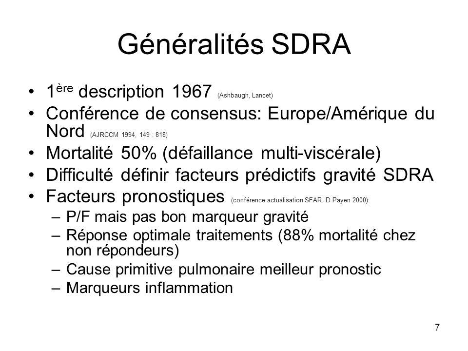 7 Généralités SDRA 1 ère description 1967 (Ashbaugh, Lancet) Conférence de consensus: Europe/Amérique du Nord (AJRCCM 1994, 149 : 818) Mortalité 50% (